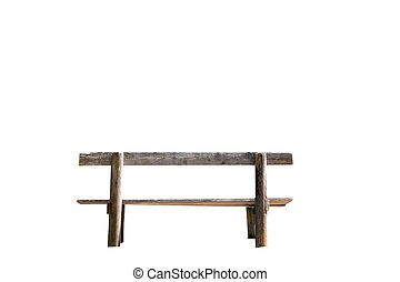 Old rustic wooden bench isolated - Old rustic wooden bench...