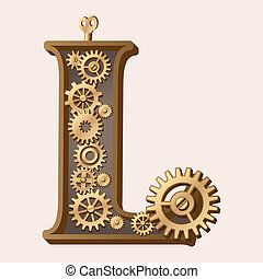 Mechanical alphabet made from gears. Letter l