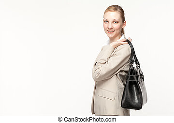 Beautiful business woman smileing on white background