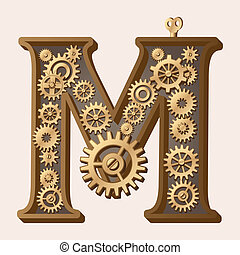 Mechanical alphabet made from gears Letter m