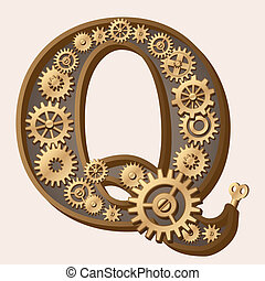 Mechanical alphabet made from gears. Letter q