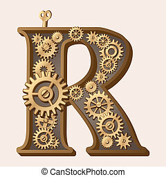Mechanical alphabet made from gears. Letter r