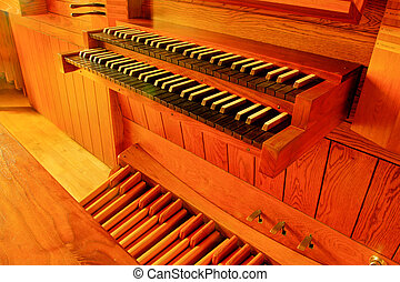 tracker pipe organ; Bethel College chapel, North Newton,...