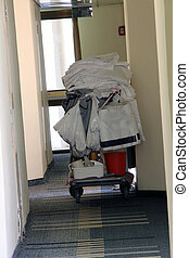 Hotel room cleaning trolley
