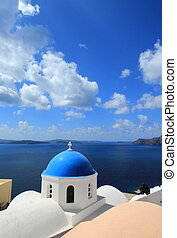 Blue dome of a church, Oia, Santorini, Greece - Famous blue...