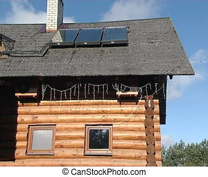 log house solar panels - wooden log homestead house and...