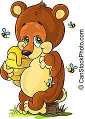 Cute bear cub with honey - Vector illustration of cute bear...
