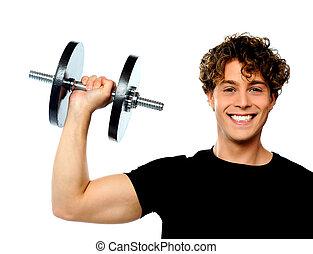 Poderoso, Muscular, jovem, homem, levantamento, peso