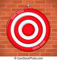 Red target on brick wall, vector eps10 illustration