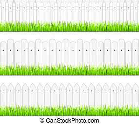 White fences with grass, vector eps10 illustration