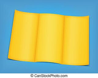 Blank yellow brochure