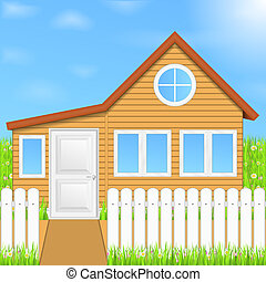 Wooden house, vector eps10 illustration