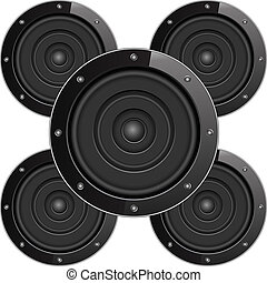 Black sound speakers, vector eps10 illustration