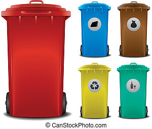 recycling bins - illustration recycling bins with different...