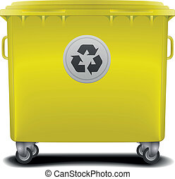 yellow recycling bin - illustration of a yellow recycling...