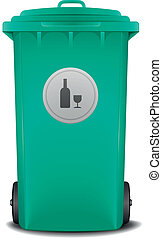 green recycling bin - illustration of a green recycling bin...