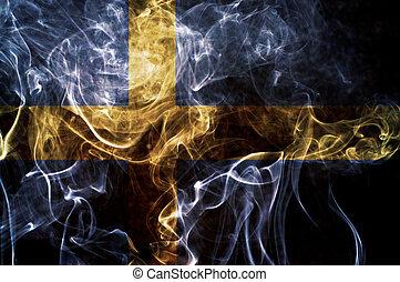 Sweden flag. - Sweden flag overlay on joss stick smoke...