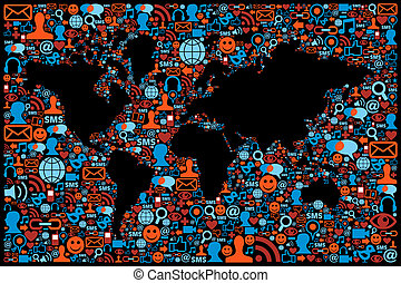 Social media network icon set Globe map