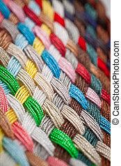 Braid of colourful threads - A braid of colourful sewing...