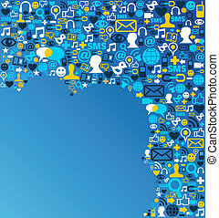 Social media network icon background