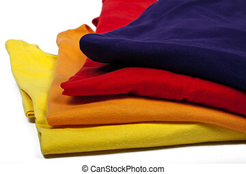 colored t-shirts - several colored t-hirts on white...