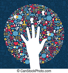 Social media network business success hand Vector file...