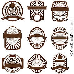 Label Emblem Crest Set - Illustration of a set of nine one...