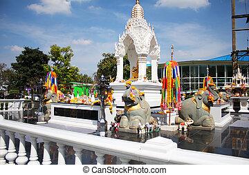 Buddhist shrine in Thailand. - Buddhist shrine in Bangkok,...