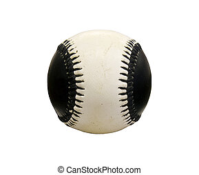 black and white baseball isolated over a white background...