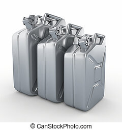 Three aluminium jerrycans. Gasoline can on white background....