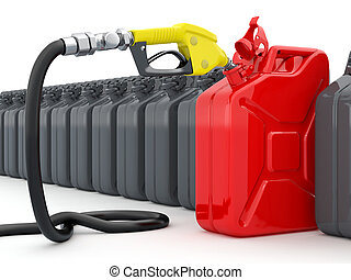 Gas pump nozzle and jerrycan on white background. 3d