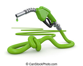Energy crisis Gas pump nozzle tied in a knot 3d