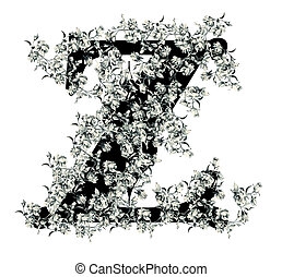 Letter Z - Capital letter Z from flowers in vector