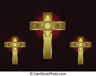 Three ornate gold crosses on a maroon background with...