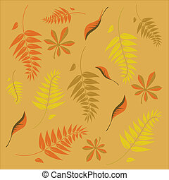 An autumn background with different shaped leaves in various...