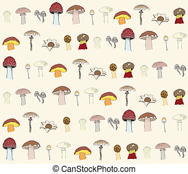 seamless mushrooms pattern - seamless pattern with mushrooms