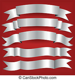 silver ribbons - set of silver ribbons, red background