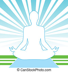Meditation Open-Air - Pose Yoga Silhouette Isolated On The...