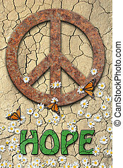 Peace we Hope - Rusted peace symbol, daisys, butterflys, and...