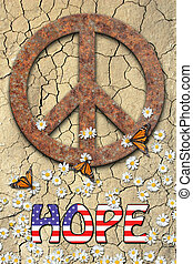 Peace and Hope - Rusted peace symbol, daisys, butterflys,...