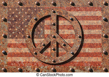 Riveted Peace Symbol and Flag - Riveted edges on rusted...