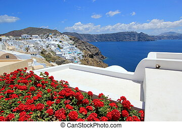 Caldera, Oia, Santorini, Greece - View on the caldera behind...