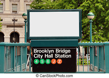 Subway Station - copy space above Brooklyn Bridge City Hall...