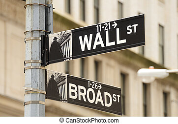 Wall Street and Broad Street - Street sign for Wall Street...