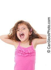 child shouting or singing - young girl child singing or...