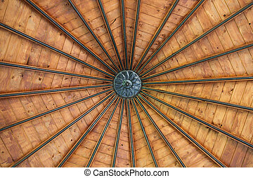 Wooden roof - Closeup photo about a wooden roof with metal...