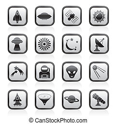 astronautics and space icons - astronautics, space and...