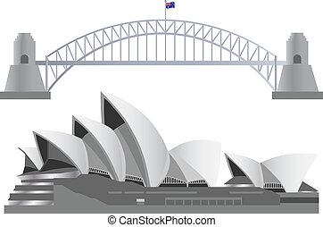 Sydney Australia Skyline Landmarks Harbour Bridge and Opera...