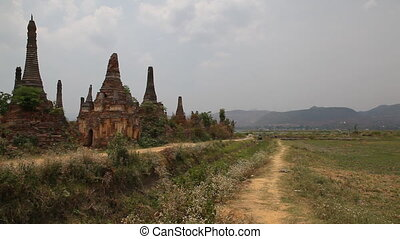 Pagoda in Samkar village, Myanmar - Inle lake, Myanmar