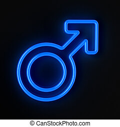 Male symbol in neon blue